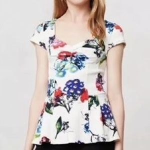 Anthropologie Postage Stamp floral peplum top